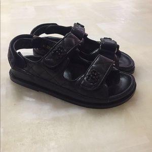 CHANEL black sandals sz 37 / 6 us